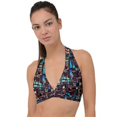 Stained Glass Mosaic Abstract Halter Plunge Bikini Top