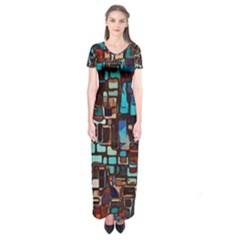 Stained Glass Mosaic Abstract Short Sleeve Maxi Dress