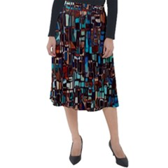 Stained Glass Mosaic Abstract Classic Velour Midi Skirt