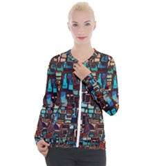 Stained Glass Mosaic Abstract Casual Zip Up Jacket