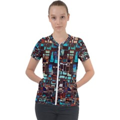 Stained Glass Mosaic Abstract Short Sleeve Zip Up Jacket