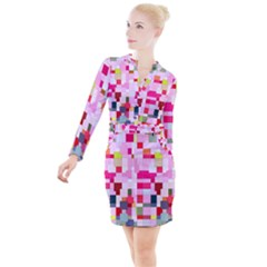 The Framework Paintings Square Button Long Sleeve Dress