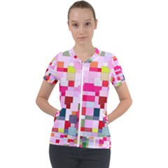 The Framework Paintings Square Short Sleeve Zip Up Jacket