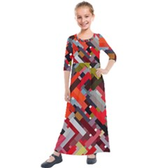 Maze Mazes Fabric Fabrics Color Kids  Quarter Sleeve Maxi Dress by Sapixe