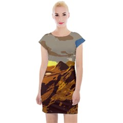 Scotland Monti Mountains Mountain Cap Sleeve Bodycon Dress