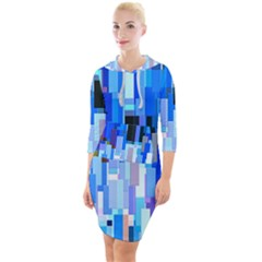 Color Colors Abstract Colorful Quarter Sleeve Hood Bodycon Dress