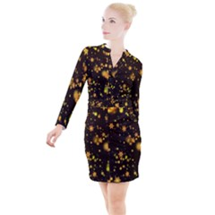Background Black Blur Colorful Button Long Sleeve Dress