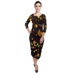 Background Black Blur Colorful Quarter Sleeve Midi Velour Bodycon Dress by Sapixe