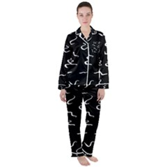 Scribbles Lines Drawing Picture Satin Long Sleeve Pyjamas Set by Sapixe