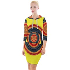 Art Decoration Wallpaper Bright Quarter Sleeve Hood Bodycon Dress