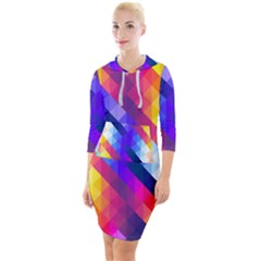 Abstract Background Colorful Pattern Quarter Sleeve Hood Bodycon Dress