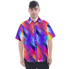 Abstract Background Colorful Pattern Men s Short Sleeve Shirt
