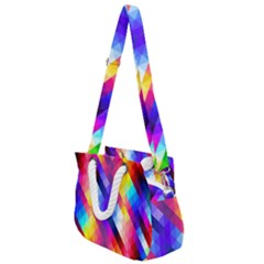Abstract Background Colorful Pattern Rope Handles Shoulder Strap Bag by Sapixe