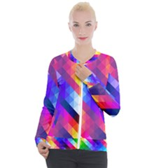 Abstract Background Colorful Pattern Casual Zip Up Jacket