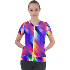 Abstract Background Colorful Pattern Short Sleeve Zip Up Jacket