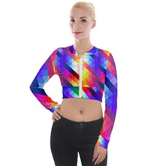 Abstract Background Colorful Pattern Long Sleeve Cropped Velvet Jacket