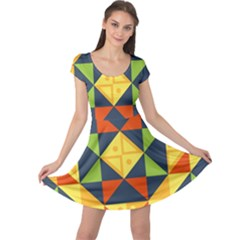 Background Geometric Color Cap Sleeve Dress