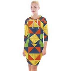Background Geometric Color Quarter Sleeve Hood Bodycon Dress