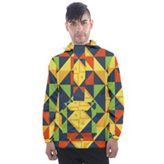 Background Geometric Color Men s Front Pocket Pullover Windbreaker by Sapixe