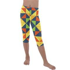 Background Geometric Color Kids  Lightweight Velour Capri Leggings  by Sapixe