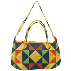 Background Geometric Color Removal Strap Handbag