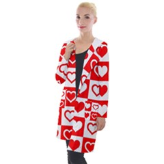 Background Card Checker Chequered Hooded Pocket Cardigan
