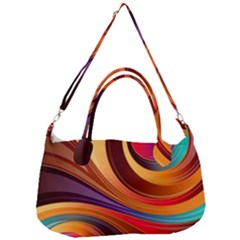 Abstract Colorful Background Wavy Removal Strap Handbag