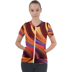 Abstract Colorful Background Wavy Short Sleeve Zip Up Jacket