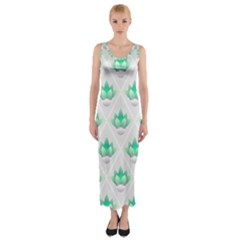 Plant Pattern Green Leaf Flora Fitted Maxi Dress