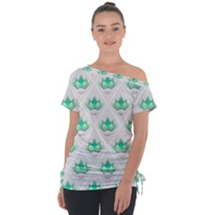 Plant Pattern Green Leaf Flora Tie Up Tee by Sapixe