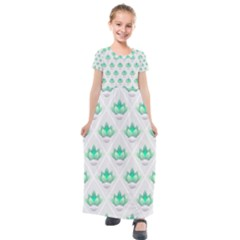 Plant Pattern Green Leaf Flora Kids  Short Sleeve Maxi Dress by Sapixe
