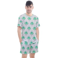 Plant Pattern Green Leaf Flora Men s Mesh Tee And Shorts Set
