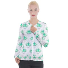 Plant Pattern Green Leaf Flora Casual Zip Up Jacket