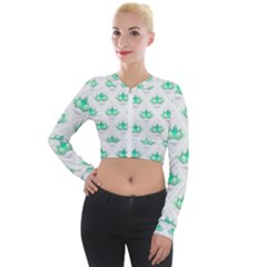 Plant Pattern Green Leaf Flora Long Sleeve Cropped Velvet Jacket