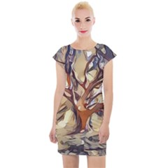 Tree Forest Woods Nature Landscape Cap Sleeve Bodycon Dress