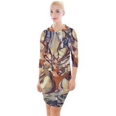 Tree Forest Woods Nature Landscape Quarter Sleeve Hood Bodycon Dress