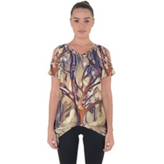 Tree Forest Woods Nature Landscape Cut Out Side Drop Tee by Sapixe