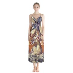 Tree Forest Woods Nature Landscape Button Up Chiffon Maxi Dress