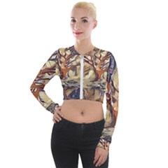 Tree Forest Woods Nature Landscape Long Sleeve Cropped Velvet Jacket