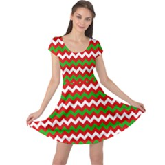 Christmas Paper Scrapbooking Pattern Cap Sleeve Dress