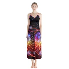 Physics Quantum Physics Particles Button Up Chiffon Maxi Dress