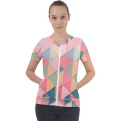 Background Geometric Triangle Short Sleeve Zip Up Jacket