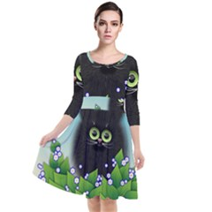 Kitten Black Furry Illustration Quarter Sleeve Waist Band Dress by Sapixe