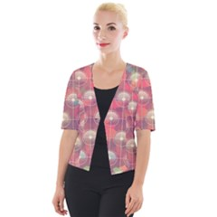 Colorful Background Abstract Cropped Button Cardigan