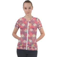 Colorful Background Abstract Short Sleeve Zip Up Jacket