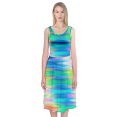 Wave Rainbow Bright Texture Midi Sleeveless Dress