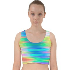Wave Rainbow Bright Texture Velvet Racer Back Crop Top