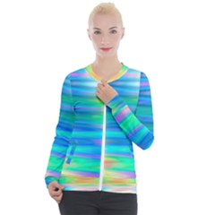 Wave Rainbow Bright Texture Casual Zip Up Jacket