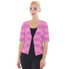 Pink Stripes Striped Design Pattern Cropped Button Cardigan