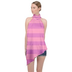 Pink Stripes Striped Design Pattern Halter Asymmetric Satin Top